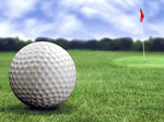 golf ball in a course with striking colours